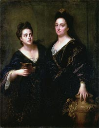Two Actresses, 1699 by Jean-Baptiste Santerre | Painting Reproduction