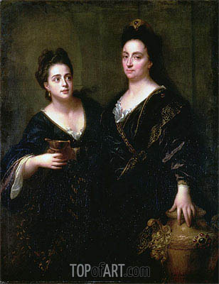 Two Actresses, 1699 | Jean-Baptiste Santerre | Painting Reproduction