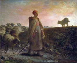 Shepherdess Returning with her Flock | Millet | Painting Reproduction