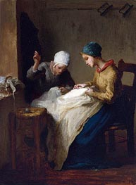 The Young Seamstresses, 1850 by Millet | Painting Reproduction