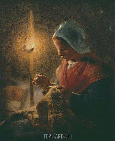 Woman Sewing by Lamplight, c.1870/72 | Millet | Painting Reproduction