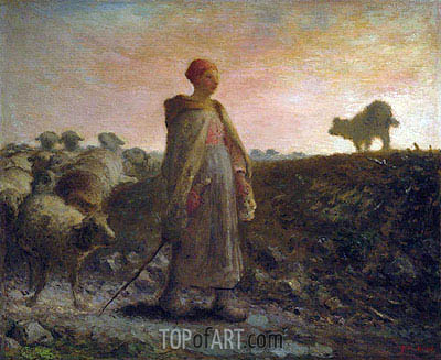 Shepherdess Returning with her Flock, Undated | Millet | Painting Reproduction
