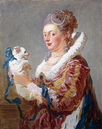 Portrait of a Woman with a Dog, c.1769 by Fragonard | Painting Reproduction