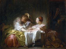 The Stolen Kiss, c.1756/61 von Fragonard | Gemälde-Reproduktion
