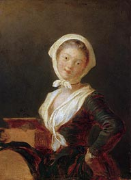 Young Girl with Marmot (Portrait of Rosalie Fragonard) | Fragonard | Gemälde Reproduktion