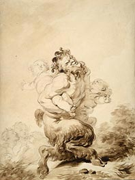 A Satyr Teased by Two Putti | Fragonard | Painting Reproduction