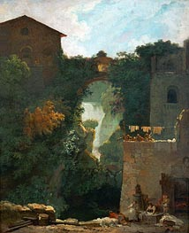 The Falls of Tivoli, undated by Fragonard | Painting Reproduction