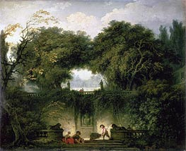 The Small Park (Garden of the Villa d'Este), c.1762/63 by Fragonard | Painting Reproduction