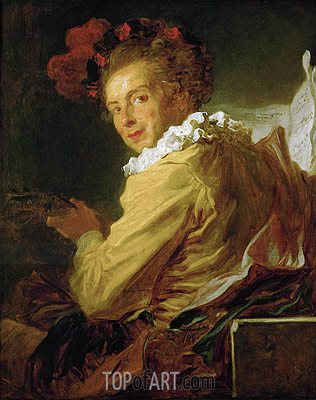 Man Playing an Instrument (The Music), 1769 | Fragonard | Gemälde Reproduktion