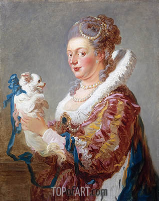 Portrait of a Woman with a Dog, c.1769 | Fragonard | Gemälde Reproduktion