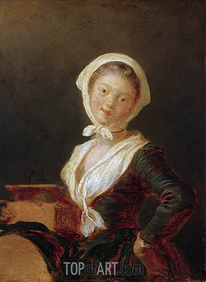 Young Girl with Marmot (Portrait of Rosalie Fragonard), c.1775 | Fragonard | Gemälde Reproduktion
