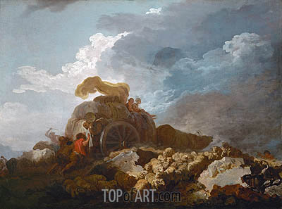 Thunderstorm (Cart Stuck in the Mud), c.1759 | Fragonard | Gemälde Reproduktion