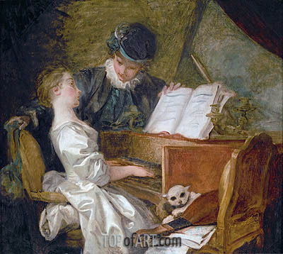 The Music Lesson, undated | Fragonard | Painting Reproduction