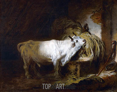 The White Bull in the Stable, undated | Fragonard | Gemälde Reproduktion