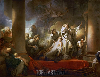 The Grand Priest Coresus Sacrifices Himself to Save Callirhoe, 1769 | Fragonard | Gemälde Reproduktion