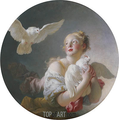 Girl Holding a Dove, undated | Fragonard | Painting Reproduction