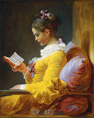 Young Girl Reading, c.1776 | Fragonard | Painting Reproduction