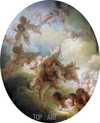 The Swarm of Cupids, c.1767 | Fragonard | Gemälde Reproduktion