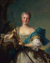 Portrait of Madame de Pompadour as Diana, 1752 von Jean-Marc Nattier | Gemälde-Reproduktion