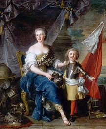 Mademoiselle de Lambesc as Minerva, Arming Her Brother the Comte de Brionne and Directing Him to the Arts of War, 1732 von Jean-Marc Nattier | Gemälde-Reproduktion