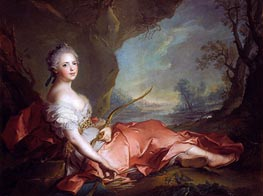 Portrait of Maria Adelaide of France dressed as Diana, daughter of Louis XV, 1745 von Jean-Marc Nattier | Gemälde-Reproduktion