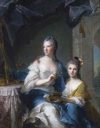 Madame Marsollier and Her Daughter, 1749 von Jean-Marc Nattier | Gemälde-Reproduktion