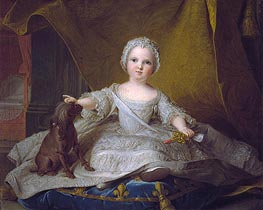 Portrait of Marie-Zephyrine of France with Her Dog, 1751 von Jean-Marc Nattier | Gemälde-Reproduktion