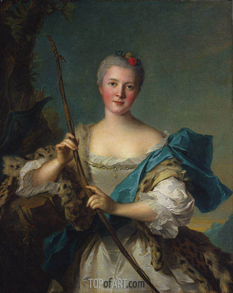 Portrait of Madame de Pompadour as Diana, 1752 | Jean-Marc Nattier | Painting Reproduction