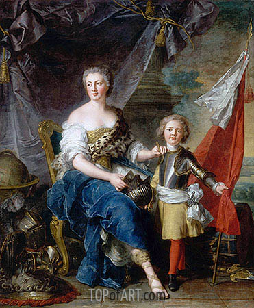 Mademoiselle de Lambesc as Minerva, Arming Her Brother the Comte de Brionne and Directing Him to the Arts of War, 1732 | Jean-Marc Nattier | Painting Reproduction