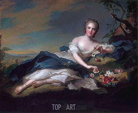 Portrait of Henrietta Maria of France as Flora, 1742 | Jean-Marc Nattier | Gemälde Reproduktion