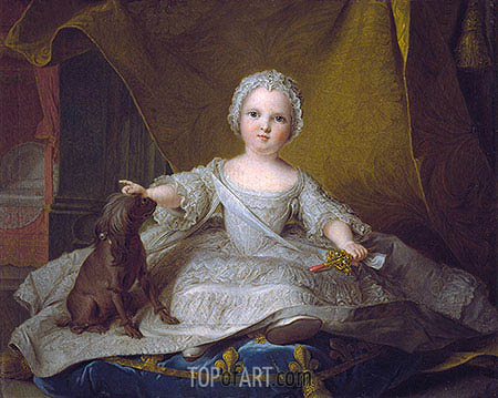 Portrait of Marie-Zephyrine of France with Her Dog, 1751 | Jean-Marc Nattier | Gemälde Reproduktion