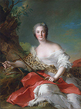 Portrait of Constance Gabrielle Magdeleine Bonnier de la Mosson as Diana, 1742 | Jean-Marc Nattier | Painting Reproduction