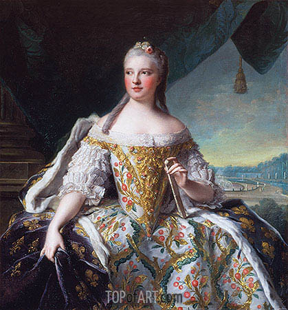 Marie-Josephe of Saxony, Dauphine of France (Madame de France), 1751 | Jean-Marc Nattier | Painting Reproduction
