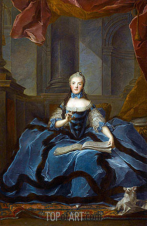 Madame Adelaide daughter of Louis XV holding a Book of Music, undated | Jean-Marc Nattier | Painting Reproduction