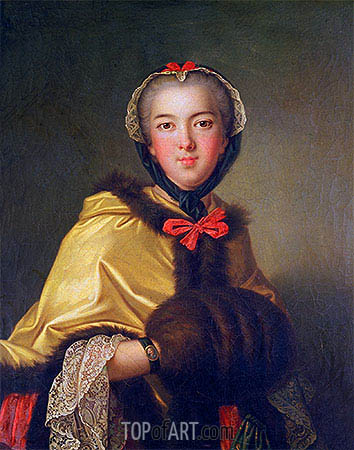 Portrait of Louis-Henriette de Bourbon-Conti, with Muffler, undated | Jean-Marc Nattier | Gemälde Reproduktion