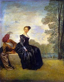 La Boudeuse (The Capricious Girl), c.1718 by Watteau | Painting Reproduction