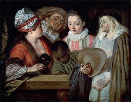 Actors of the Comedie-Francaise, c.1714/15 by Watteau | Painting Reproduction