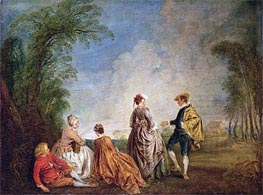 An Embarrasing Proposal, c.1715/16 by Watteau | Painting Reproduction