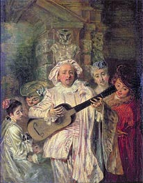 Gilles and his Family (Sous un habit de Mezetin), c.1716 von Watteau | Gemälde-Reproduktion