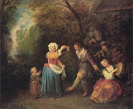 Pastoral Dance, c.1706/10 by Watteau | Painting Reproduction