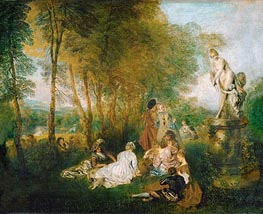 The Festival of Love (The Pleasures of Love), 1717 by Watteau | Painting Reproduction
