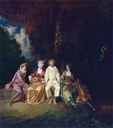 Pierrot Content, c.1712 by Watteau | Painting Reproduction