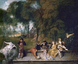 Meeting in the Open Air, c.1719/20 von Watteau | Gemälde-Reproduktion