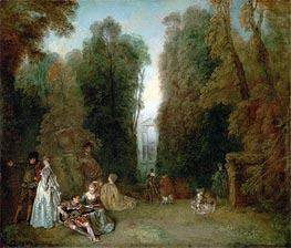 View through the Trees in the Park Pierre Crozat, c.1715 by Watteau | Painting Reproduction