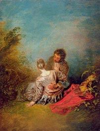Le faux-pas (The Misste), c.1716/18 by Watteau | Painting Reproduction