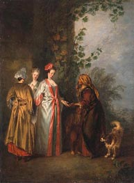 The Fortune Teller, c.1710 by Watteau | Painting Reproduction