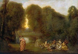 Company in a Park | Watteau | Painting Reproduction