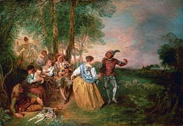 The Shepherds, undated by Watteau | Painting Reproduction