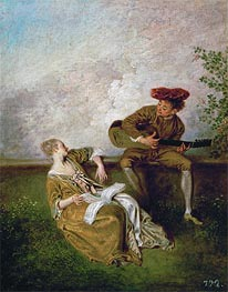 The Singing Lesson (Guitarist and Young Lady with a Music Book) | Watteau | Painting Reproduction