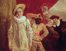 Harlequin, Pierrot and Scapin, Actors from the Commedia dell'Arte | Watteau | Gemälde Reproduktion
